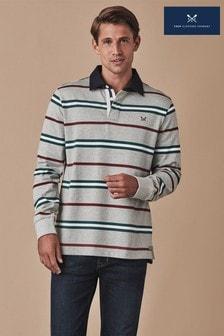 חולצת רגבי בצבע אפור עם שרוולים ארוכים וצווארון עגול שלCrewClothing