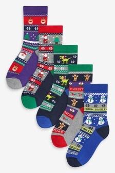 Набор новогодних носков с мягкой отрезной подошвой и скандинавским узором (5 пар) (Младшего возраста)