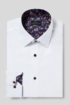 Signature Slim Fit Single Cuff Shirt With Trim Detail