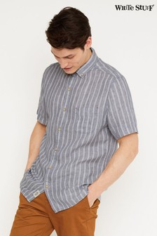 White Stuff Blue Kelson Stripe Linen Shirt