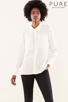 Pure Collection White Silk Contrast Stitch Relaxed Blouse