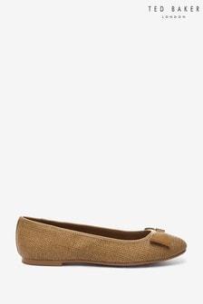 Ted Baker Sualli Raffia Bow Ballet Pump Shoes