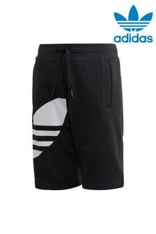 Черные шорты с логотипом-трилистником сбокуadidas Originals
