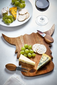 Cow Cheese Board With Two Cheese Knives