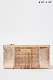 River Island Gold Rose Heatseal Panel Metal Top Bag