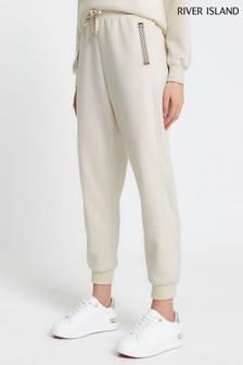 River Island Cream Monogram Trim Neoprene Joggers