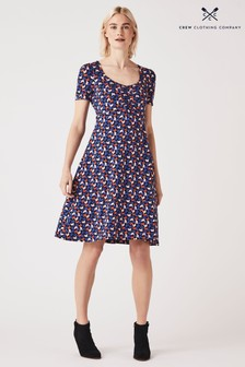 Crew Clothing Company Blue Iris Jersey Printed Tea Dress