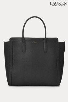 Lauren Ralph Lauren Black Tyler Soft Leather Tote Bag