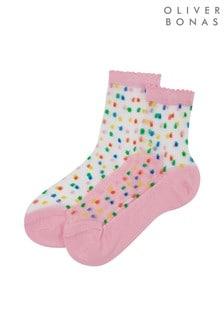 Oliver Bonas Pink Bright Confetti Sheer Ankle Socks