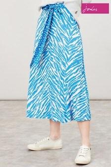 Fustă cu imprimeu amestecat Joules Zara albastră