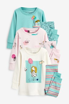 3 Pack Girl Character Snuggle Pyjamas (9mths-8yrs)
