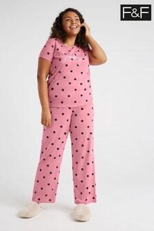 F&F Pink Spot Slogan Hanging Pyjama Set