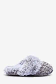 Faux Fur Chenille Mule Slippers (Older)