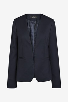 Collarless Tailored Suit Jacket