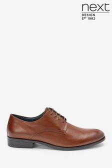 Round Toe Leather Derby Shoes