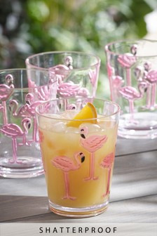 Set of 4 Plastic Flamingo Tumbler Glasses