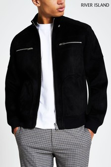 River Island Black Perforated Suedette Racer Jacket