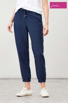 Pantaloni cu elastic în talie Joules Cecelia albaștri