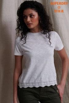 Superdry T-Shirt mit gemischter Spitze, Weiß