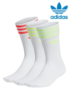adidas Originals Adults White Neon Stripe Crew Socks