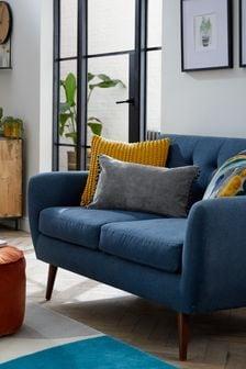 Mid Grey Soft Velour Pom Edge Rectangle Cushion