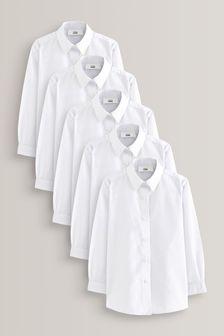 5 деловых рубашки с длинными рукавами (3-16 лет)