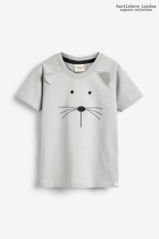 Turtledove London Grey Organic Cotton Mouse Face T-Shirt