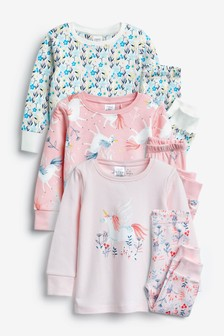 3 Pack Snuggle Unicorn Pyjamas (9mths-8yrs)
