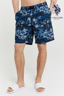 U.S. Polo Assn. Linen Palm Print Swim Shorts
