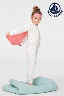 Petit Bateau Pink Multi Hearts and Cape Pyjama Onsie