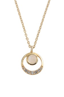 Oliver Bonas Nuala Circle & Stone Gold Plated Necklace