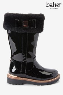 Baker By Ted Baker Black Patent Faux Fur Collar Tall Boots
