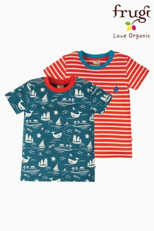 Frugi Red GOTS Organic T-Shirts Two Pack In Red Stripe And Boat Print