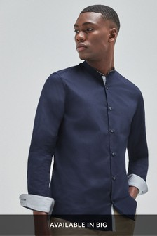 Textured Slim Fit Grandad Collar Long Sleeve Shirt
