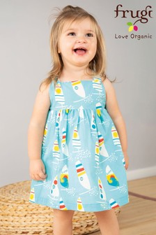 Frugi Blue GOTS Organic Party Dress In Blue Windsurfer Print
