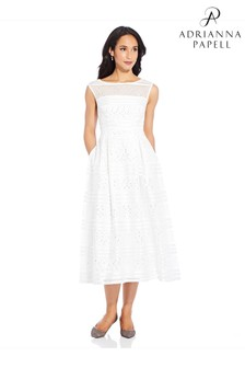 Adrianna Papell White Ribbon Embroidered Cocktail Dress