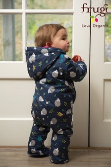 Frugi Blue Recycled Waterproof Baby Pram Suit