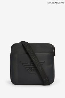 حقيبة تعلق حول الجسم أسود Eagle بنقوش بارزة من Emporio Armani