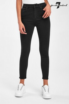 7 For All Mankind Black Aubrey High Waist Skinny Jeans