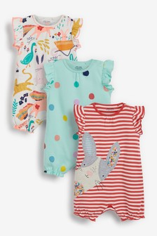 3 Pack Frill Sleeve Romper (0mths-3yrs)
