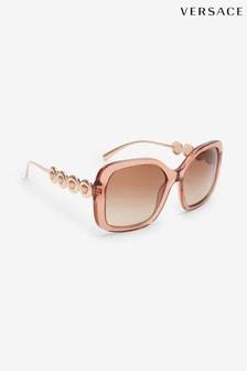 Brązowe przezroczyste okulary przeciwsłoneczne Versace