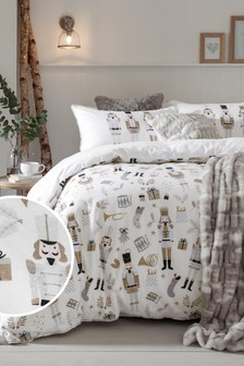White 100% Brushed Cotton Winter Nutcrackers Duvet Cover and Pillowcase Set