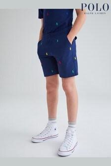 Ralph Lauren Navy All Over Logo Shorts