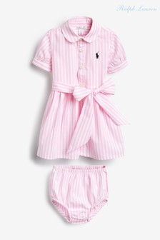 Ralph Lauren Pink Stripe Baby Shirt Dress And Bloomers