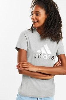 adidas T-Shirt mit Dreiblatt-Logo, Metallic