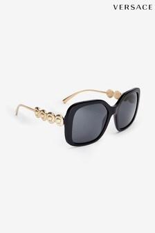 Czarne, duże okulary przeciwsłoneczne Versace