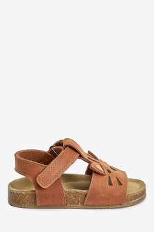 Leather T-Bar Corkbed Sandals (Younger)
