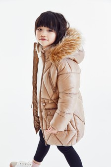Стеганая дутая куртка из блестящего водоотталкивающего материала  (3-16 лет)