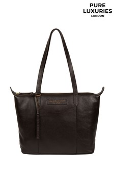 PureLuxuries London Brown Oval Leather Tote Bag