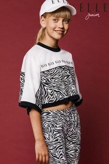 Elle Junior T-Shirt mit kastigem Zebramuster
